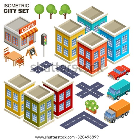 Isometric city. Raster illustration