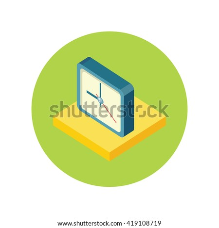 Isometric clock logo icon isolated. Watch object, time office symbol flat icon. 3d time logo. World time  icon. Timer clock silhouette - stock photo
