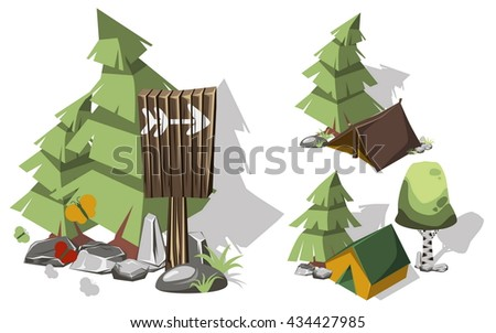 Isometric 3d camping elements for landscape design. Tent and spruce, pointer and brich, butterflies and stone.