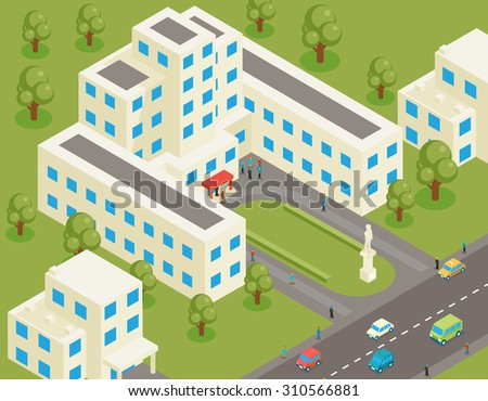 Isometric 3d flat university or college building. Student and architecture house, street and park, structure estate, tree and road
