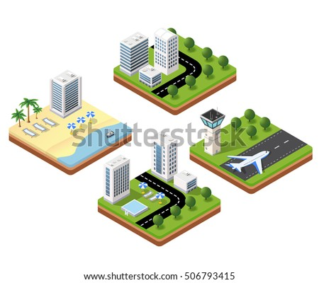 Isometric 3D icons travels with beach landscape with the hotel and the parasols, the airport terminal and a house with a swimming pool