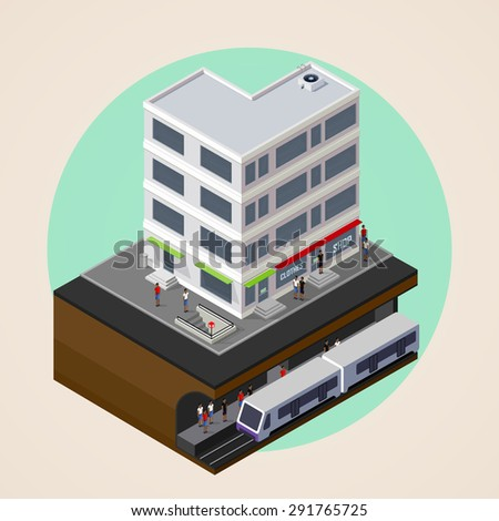 isometric 3d illustration of city street, building and metro (subway or underground) station. rapid transit system. urban lifestyle concept.
