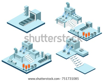 Isometric 3D illustration research laboratory with chemicals. Tanks with substance, conveyor and wires with equipment