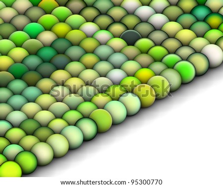 isometric 3d render of balls in multiple bright green - stock photo