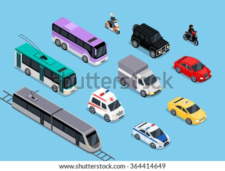 Isometric 3d transport set flat design. Car vehicle, transportation traffic, truck van, auto cargo, bus and automobile, police and motorcycle illustration. - stock photo