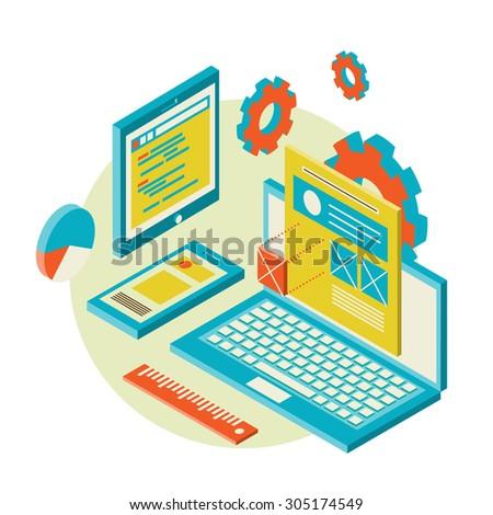 Isometric design of mobile and desktop website design development process,  illustration - stock photo