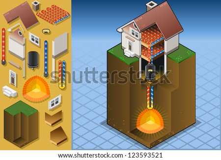 isometric detailed animation of a geothermal heat pump/underfloorheating with magma diagram - stock photo