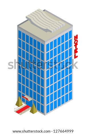 Isometric drawing of a tall hotel over white. Raster version.