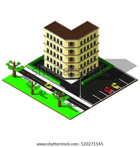 Isometric elements. 3d building with parking illustration. Isometric city map.