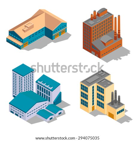 Isometric factory and industrial buildings set. Plant business, architecture construction, power structure