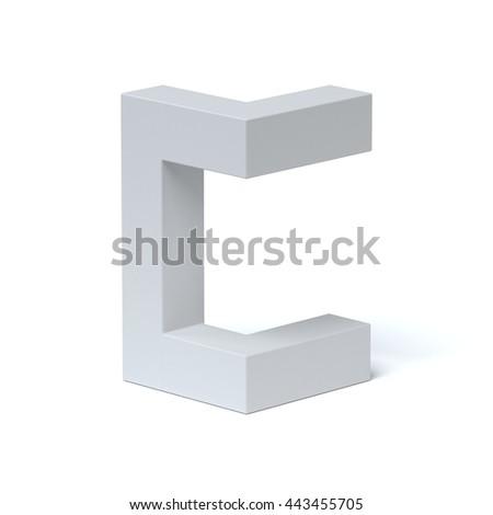 Isometric font letter C 3d rendering - stock photo