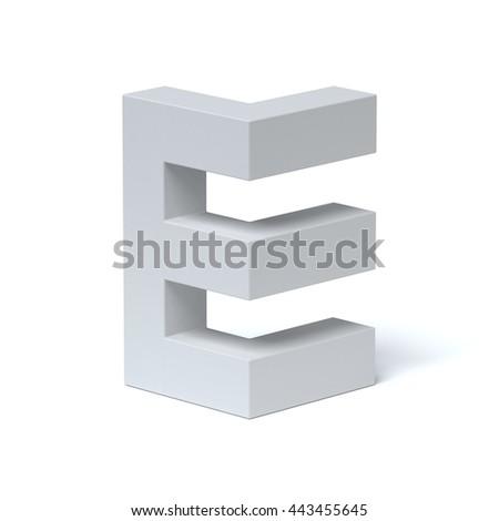 Isometric font letter E 3d rendering - stock photo