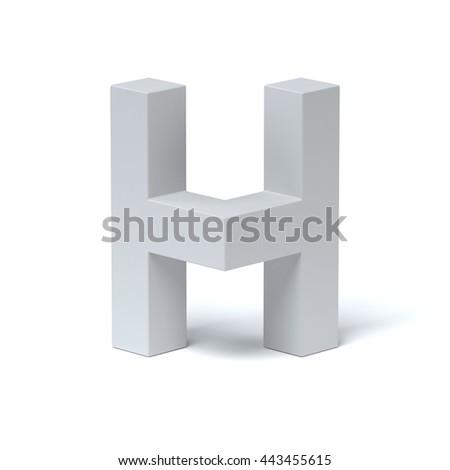 Isometric font letter H 3d rendering - stock photo