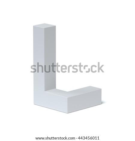 Isometric font letter L 3d rendering - stock photo