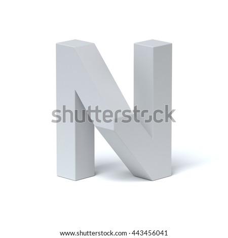 Isometric font letter N 3d rendering - stock photo