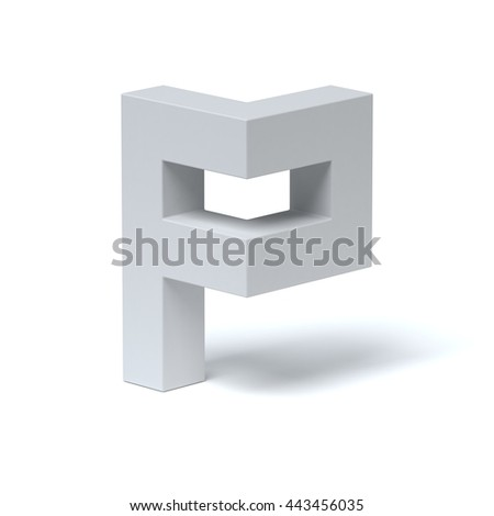 Isometric font letter P 3d rendering - stock photo