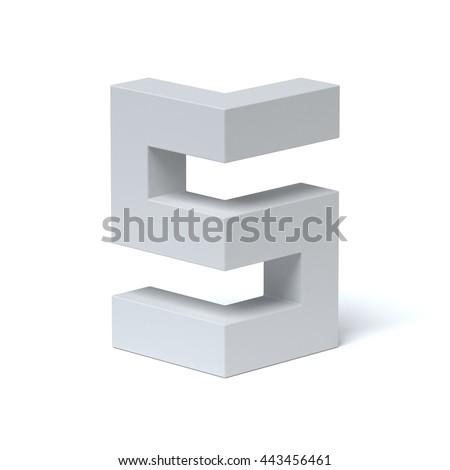 Isometric font letter S 3d rendering - stock photo
