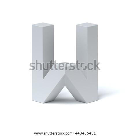 Isometric font letter W 3d rendering - stock photo