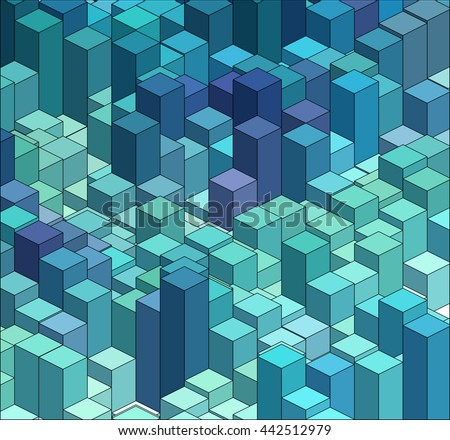Isometric Graphic Pattern. Abstract 3D Geometric Blue Background