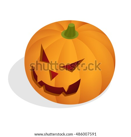 Isometric Halloween pumpkin head jack lantern. Halloween night blurred background with pumpkin. Halloween pumpkin isolated. Halloween pumpkin flat illustration. Halloween pumpkin decoration