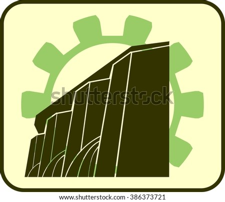 Isometric hydroelectric power station icon. Industrial relative set - stock photo