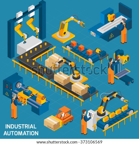 Isometric Icons Set With Robotic Machinery  - stock photo