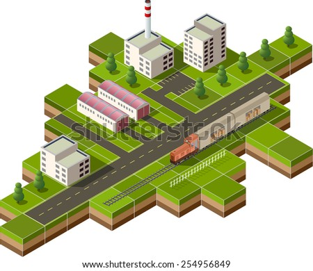 Isometric illustration of a factory with freight train