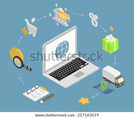 Isometric illustration of online shopping with laptop and icons - stock photo