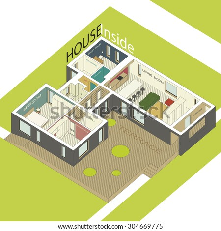 Isometric illustration of the house inside. Interior of a modern house. Raster version