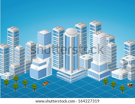 Isometric image of a fragment of the city on a colored background - stock photo