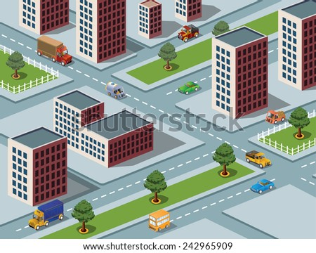 Isometric  image of a modern city - stock photo