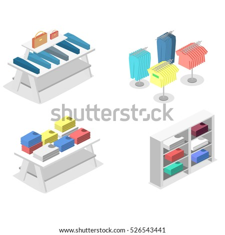 Isometric infographic flat 3D concept interior of clothing store inside.