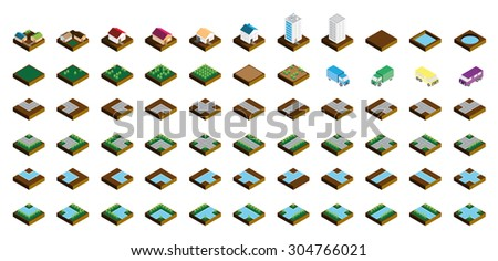 Isometric Kit of Buildings Blocks Trees and Houses - Soil Edition - stock photo