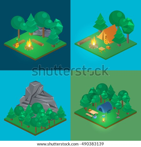 Isometric landscape for camping. Flat 3D  illustration.