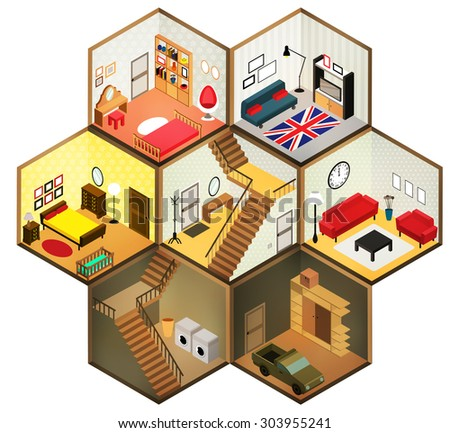 Isometric living rooms icon.