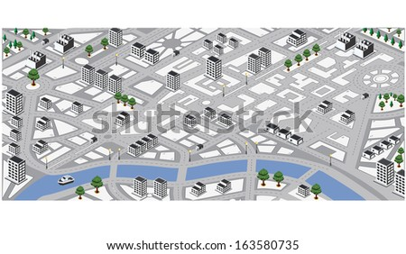 Isometric  map of city - stock photo