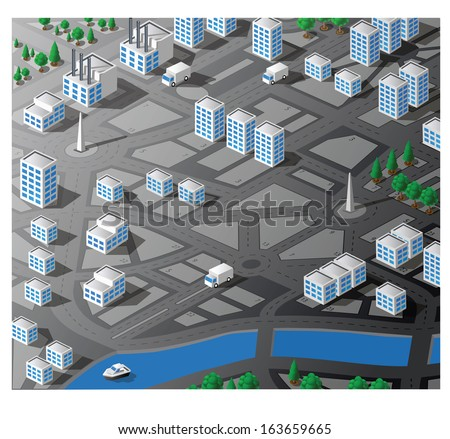 Isometric map of the area of the city - stock photo