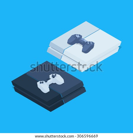 Isometric nextgen gaming consoles with gamepads. Illustration suitable for advertising and promotion - stock photo