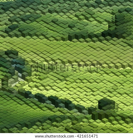Isometric Pattern, Abstract 3D Chart Green Background.