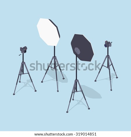 Isometric photo cameras, tripods and softboxes. Illustration suitable for advertising and promotion - stock photo