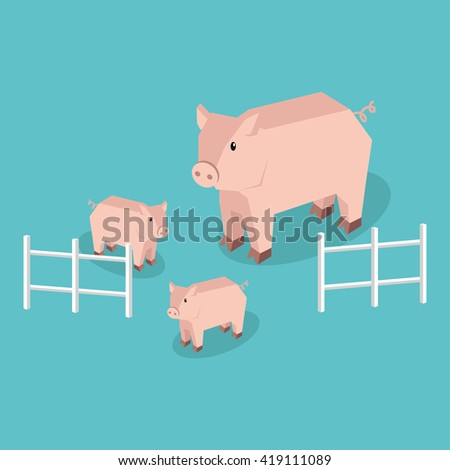 Isometric pig with piglets isolated. Pig family animal farm with litttle piglet, funny drawing livestock farm boar or big swine, 3d funny cute pig with pigling stand near fence.  illustration - stock photo