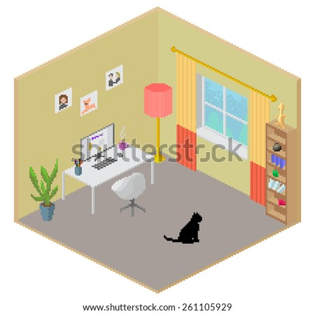 Isometric Pixel Art Style Room Freelance Work From Home Office Place Interior