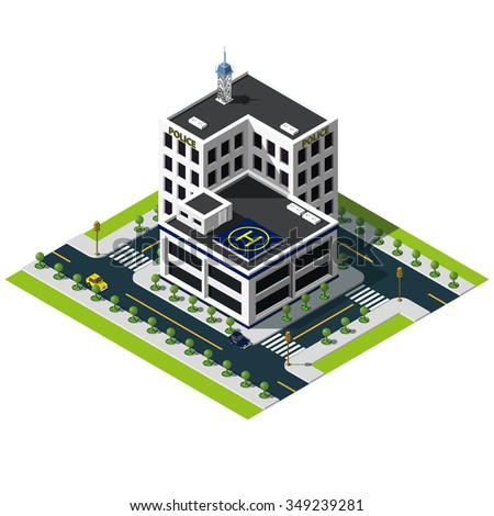 Isometric police department building. Police department icon. - stock photo