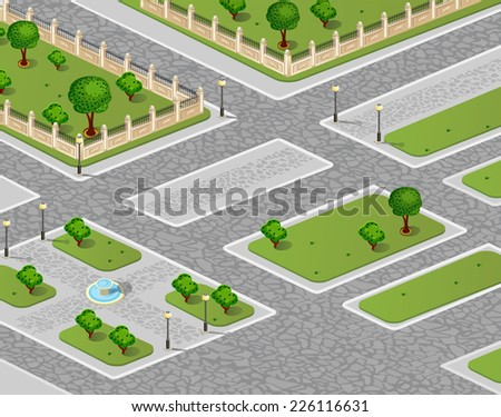 Isometric projection of the urban garden - stock photo