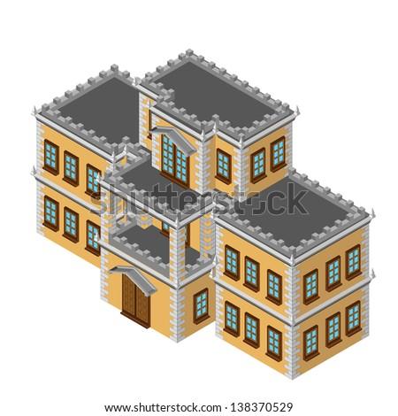 Isometric retro house - stock photo