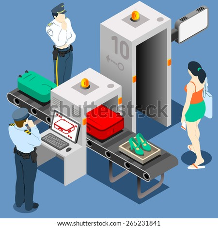 Isometric Security Checkpoint - Body and Luggage Scan Machine - Airport Check In - stock photo