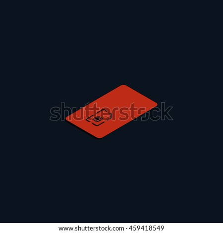 Isometric sim card case illustration. - stock photo