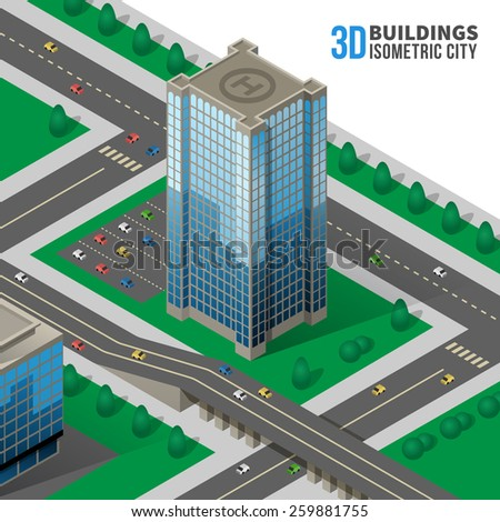 Isometric skyscraper on the street. 3d and road, city and icon - stock photo