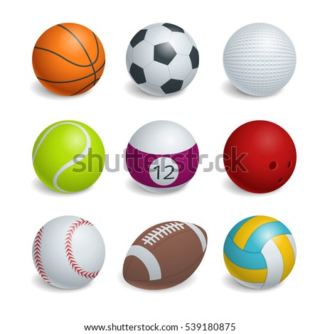 Isometric Sports Balls Set. Illustration of a set of popular sports balls and bowls equipment, for football, soccer, rugby, tennis, volleyball, basketball, baseball and bowling