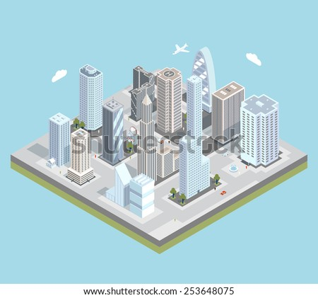 Isometric urban city center map with buildings, shops and roads on the plane